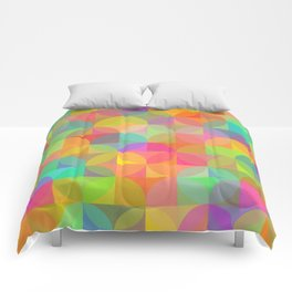 Vibrant Plaid and Circle Pattern Comforters