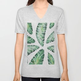 Tropical Banana Leaves 2 #society6 #buyart Unisex V-Neck