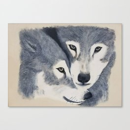 Wolf Pack - Original textured painting Canvas Print