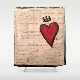 French Script Heart Shower Curtain