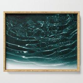 Dark Night Teal Ocean Dream #1 #water #decor #art #society6 Serving Tray