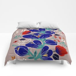 Folk Spring Flowers blooms - number1 Comforters