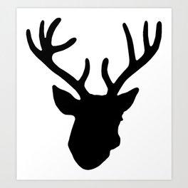 Deer Head: Black Art Print