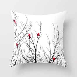 Artistic Bright Red Birds on Tree Branches Deko-Kissen