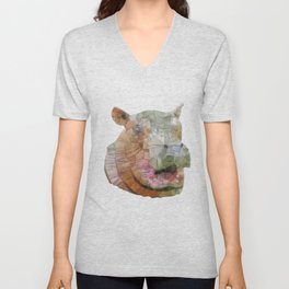 abstract hippo Unisex V-Neck