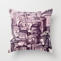 cartoons Throw Pillows featuring Saturday Morning Cartoons 2: TV Print by Kayleigh Morin