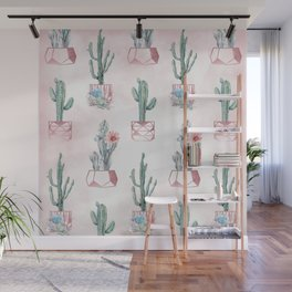 Desert Potted Cactus and Succulents Rose Gold Pink Wall Mural