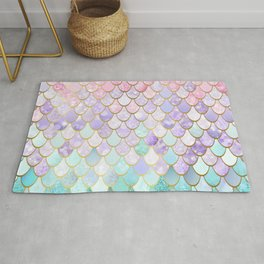 Iridescent Mermaid Pastel and Gold Rug