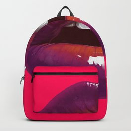 Sexy woman lips on hot pink background Backpack