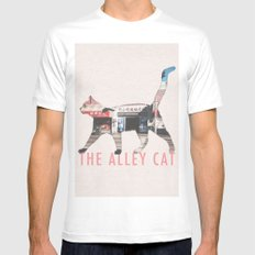 The Alley Cat MEDIUM White Mens Fitted Tee