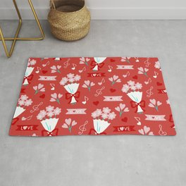 Valentine's Day Love and Bouquets Rug
