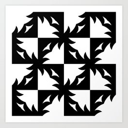 Tree Squares in Black Art Print