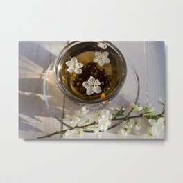 Tea. green Tea. Herbal tea. Mint leaf. Tea with apple flavor. Tea in a glass cup with apple blossoms Metal Print