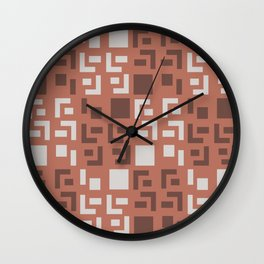 Retro Fancy Cinder Block Pattern Brick Red Wall Clock