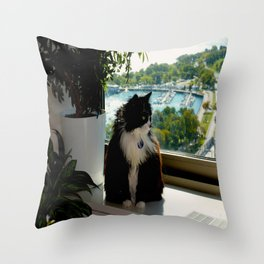 Contemplating Cat (Gracie Queen of Chicago Collection) Throw Pillow