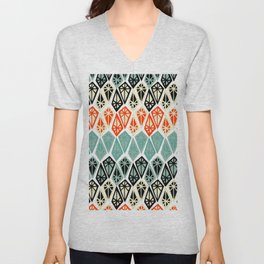 Abstract geometric hand painted red black teal diamond shapes Unisex V-Neck