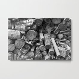 black and white photography firewood stacked nature Metal Print