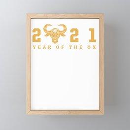 Happy Chinese New Year Zodiac Calendar Year Of The Ox 2021 Framed Mini Art Print