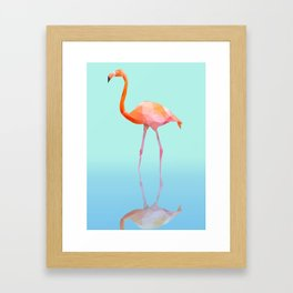 Low Poly Flamingo with reflection Framed Art Print