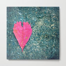 Heart Leaf Fall Photography Autumn Nature Photography Love  Metal Print
