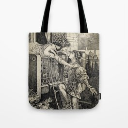 Romeo and Juliet William Shakespeare Balcony Illustration Tote Bag