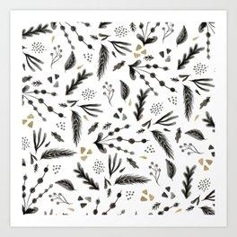 Modern trendy scandinavian black white gold floral leaf pattern Art Print