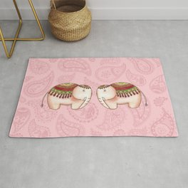 Elephants and paisley Rug