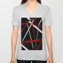 Seamless Red and White Stripes on A Black Background Unisex V-Neck