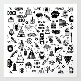 Wild And Free, Scandinavian Kids Art Print