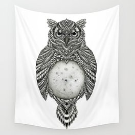 Owl and the Moon Wall Tapestry