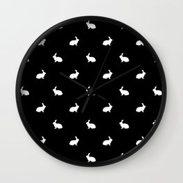 Rabbit silhouette minimal black and white basic pet art bunny rabbits pattern Wall Clock