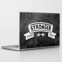 crossfit Laptop & iPad Skins featuring Stronger Every Day (dumbbell, black & white) by Lionheart Art