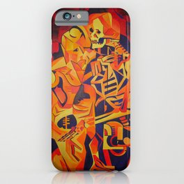 A Skeleton and Corpse Embracing Death iPhone Case