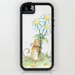 Mouse Holding Flowers iPhone Case