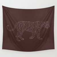 low poly Wall Tapestries featuring Low Poly Tiger by Michael Blaze