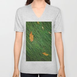 green grass field background with dry brown leaves Unisex V-Neck