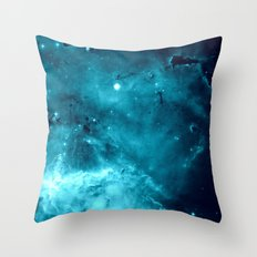 Turquoise Teal Ocean Space Galaxy Throw Pillow