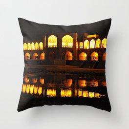 Persian Architecture Si-o-se-pol bridge at Night, Isfahan, Iran Throw Pillow