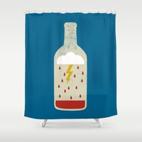 wine Shower Curtains featuring wine bottle by Marco Recuero