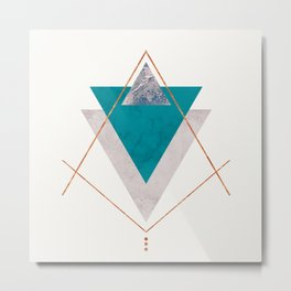 TEAL COPPER AND BLUSH GEOMETRIC Metal Print