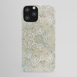 Mandala Flower, Teal and Gold, Floral Prints iPhone Case