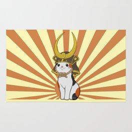 Japanese Bobtail Cat Wears Samurai Hat Rug