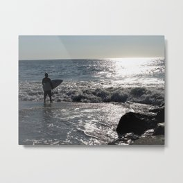 Summer Morning Surfer, Long Beach Island, New Jersey Metal Print