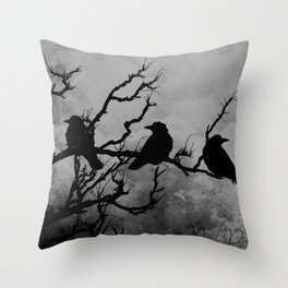 Dramatic Crow Birds Raven on Branch Stormy Sky Home Decor Wall Art A526 Throw Pillow