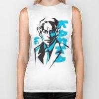 kafka Biker Tanks featuring Kafka portrait in Blue & Black by aygeartist