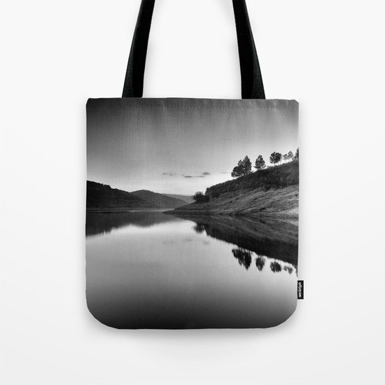 Forest Reflection Bw Tote Bag