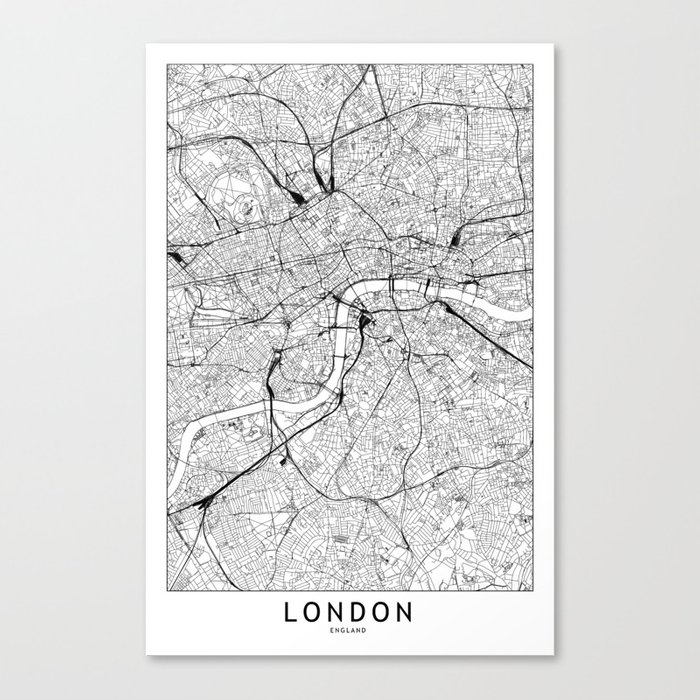 London White Map Leinwanddruck