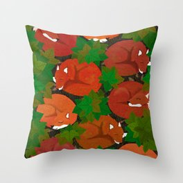 Sleepy foxes and Grapevine leaves Throw Pillow