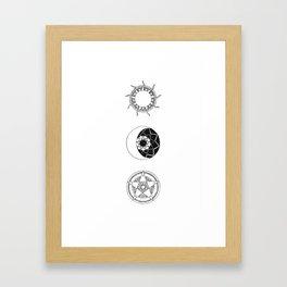 Sun, Moon and Star Mandalas Framed Art Print