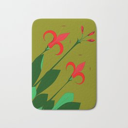 A Group of Big Red Mediterranean Flowers with Buds Bath Mat